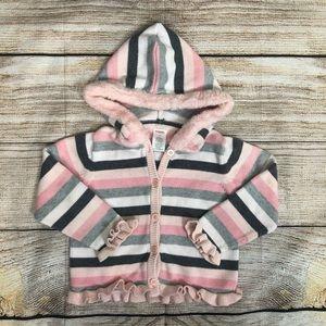 GYMBOREE Pink Stripe Faux Fur Sweater Hoodie 4